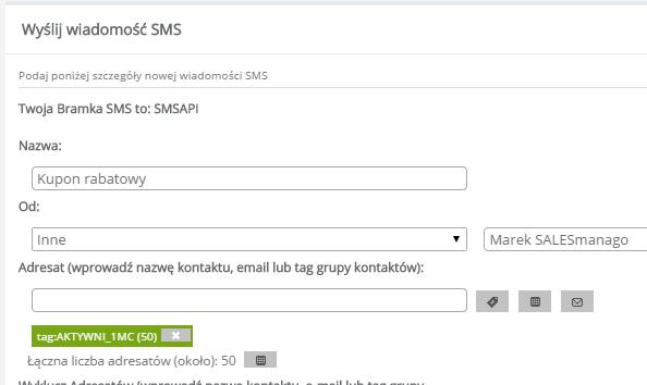 Przykład reguły automatyzacji pod wysyłkę wiadomości SMS